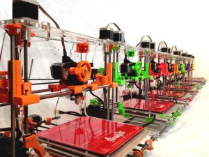 3d printers multicolors available and lined up at airwolf3d