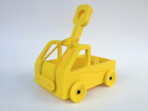 profile yellow 3d printed catapult