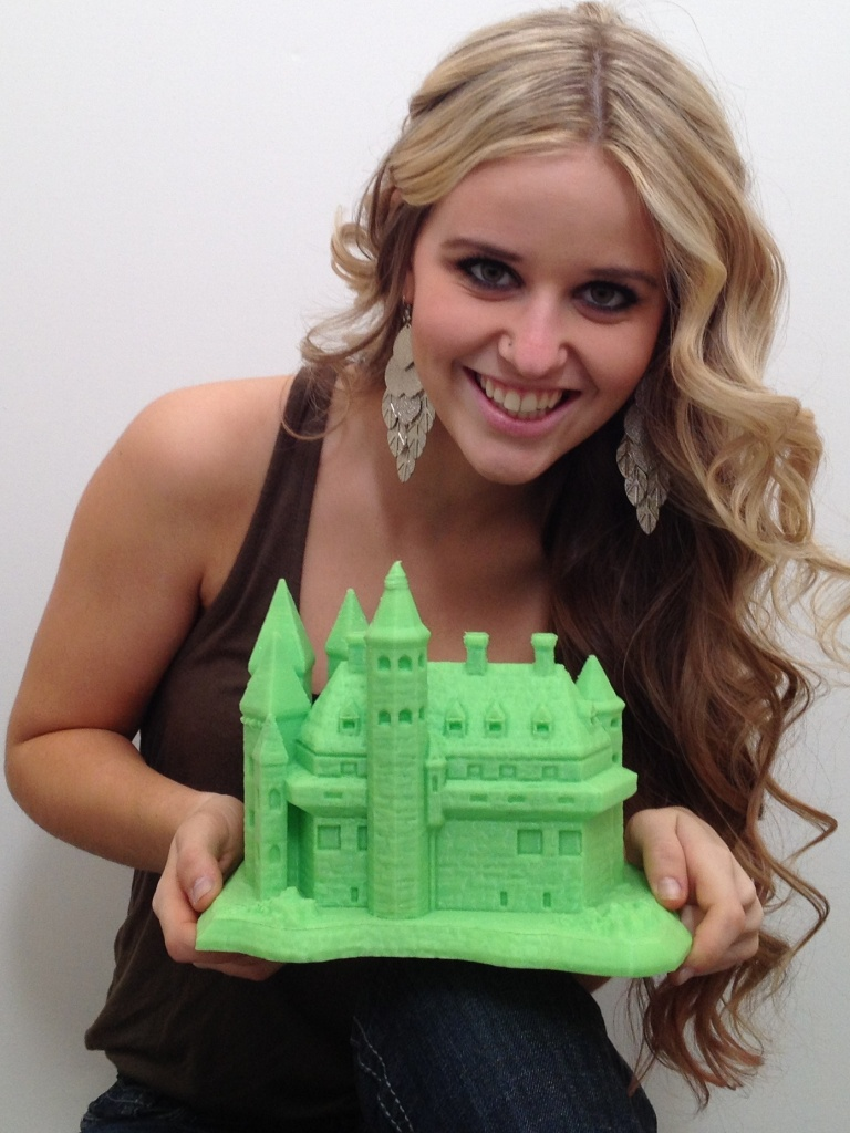 large green 3d printed castle
