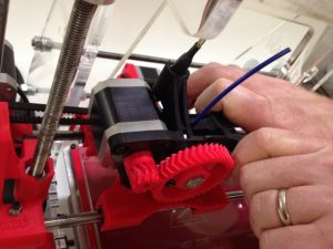 Closing the quick release latch on Airwolf 3D printer