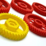 Airwolf 3D Printer Gears in red and yellow
