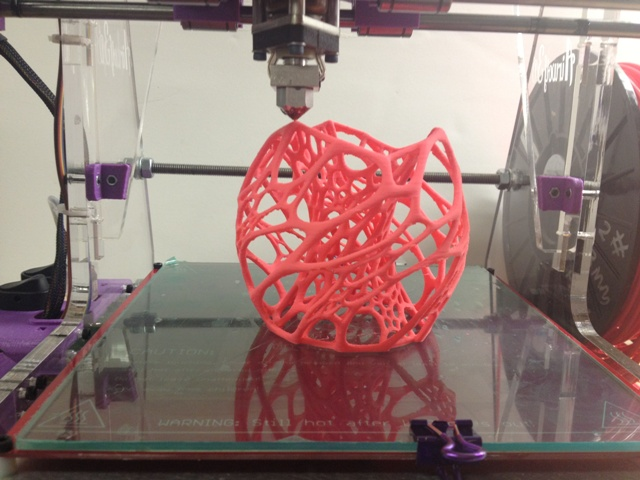 Cellular Lamp Pink 3d Printed