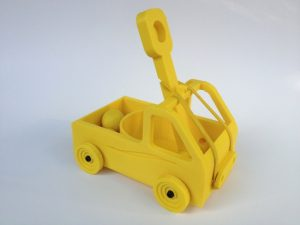 yellow 3d printed catapult side view