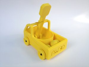 rear view of 3d printed yellow catapult