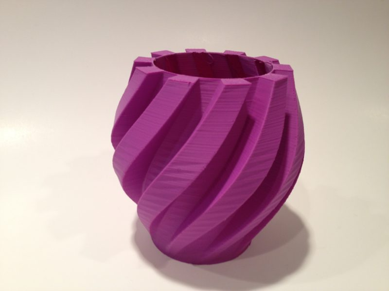 3d printed purple twisted gear lamp