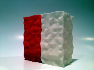 3d printed red and white ABS nested cups