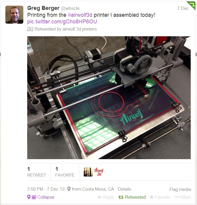 tweet from teacher building 3d printers for the classroom