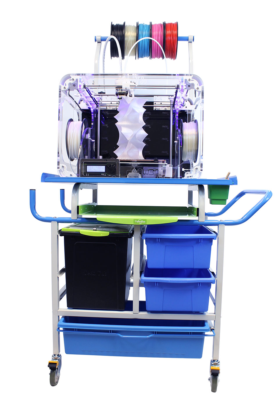 the eye catching design of the 3d printer cart offers you the ample storage and mobility you need for your home office or classroom - Printer Cart