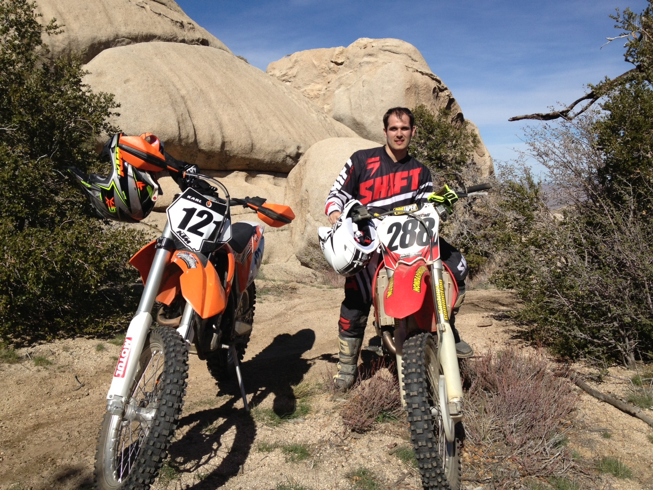 Photo of Airwolf 3D's Jowell Randall field testing his custom polycarbon clutch lever in Lucerne Valley, CA.