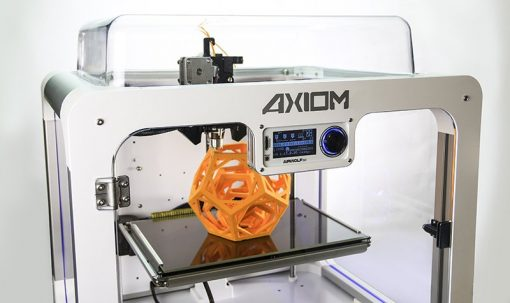 high precision 3-d printer with orange 3d model