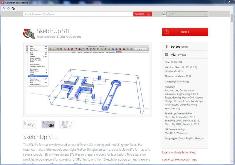 Install SketchUp SKP to STL