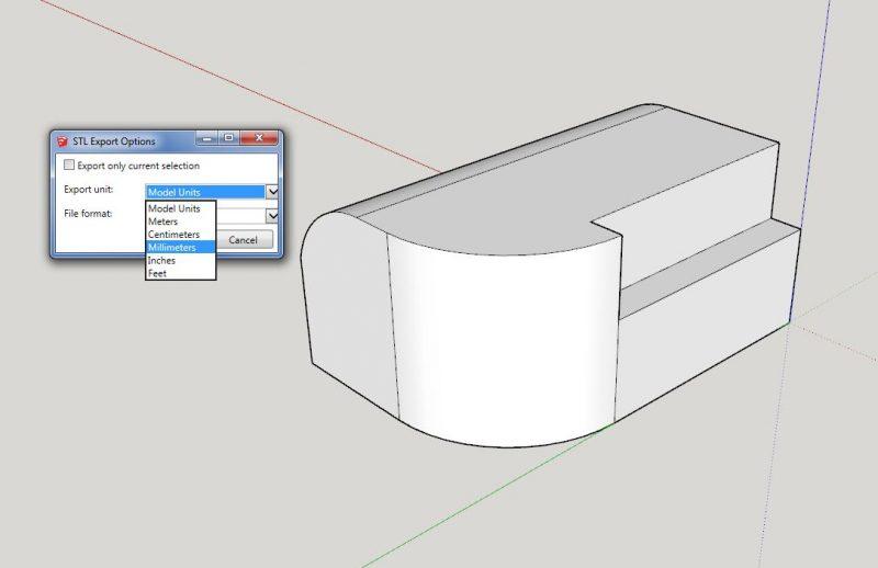 Google SketchUp STL Export Options