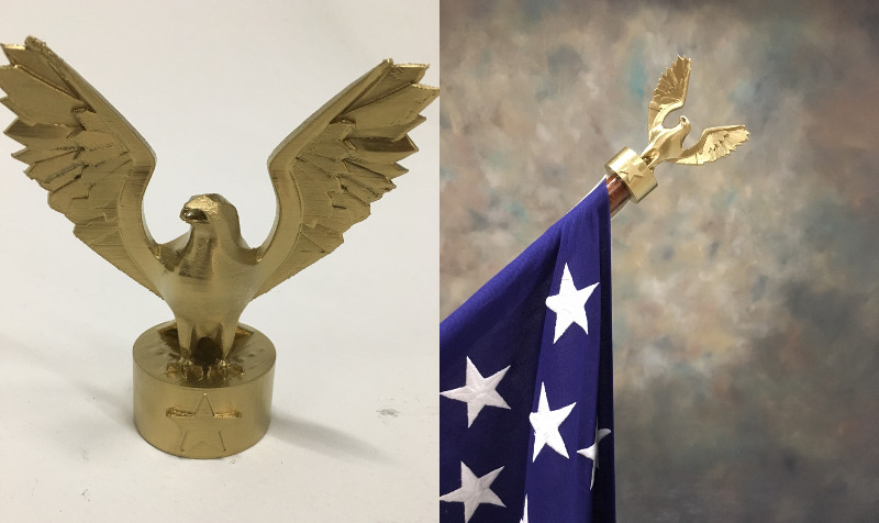 3D printed eagle flagpole decoration