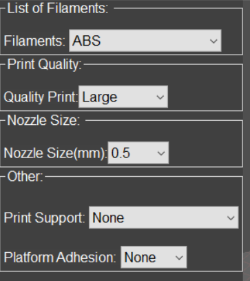 APEX Quick Settings for Large Prints