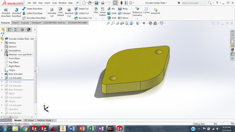 Designing Encoder Mount in Solidworks