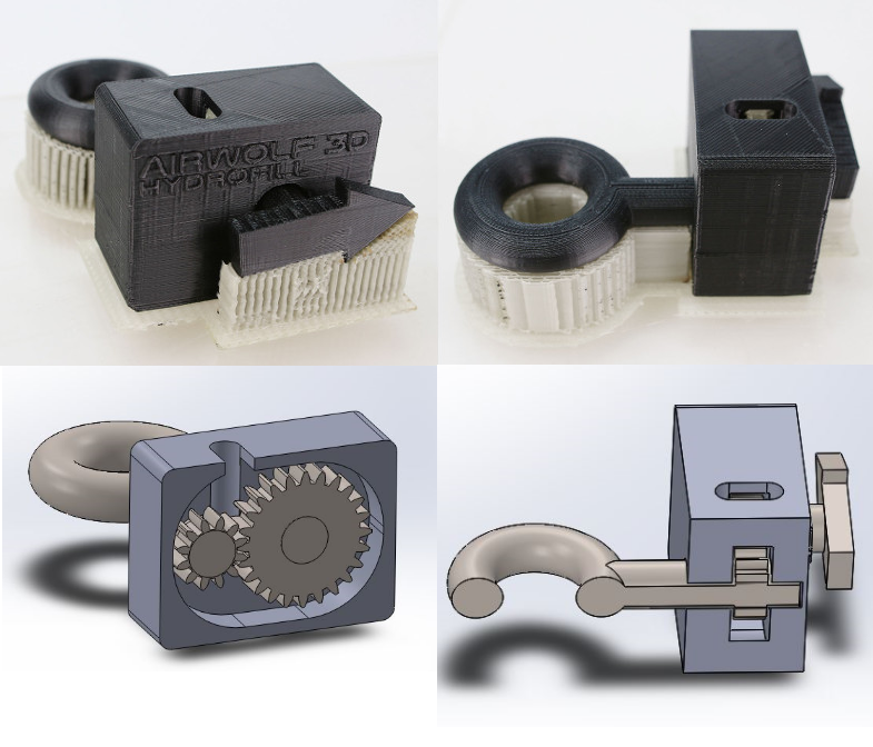The HydroFill Gearbox features rotating elements thanks to real, working gears enclosed inside the box - a design that is impossible to 3D print without effective soluble support material.