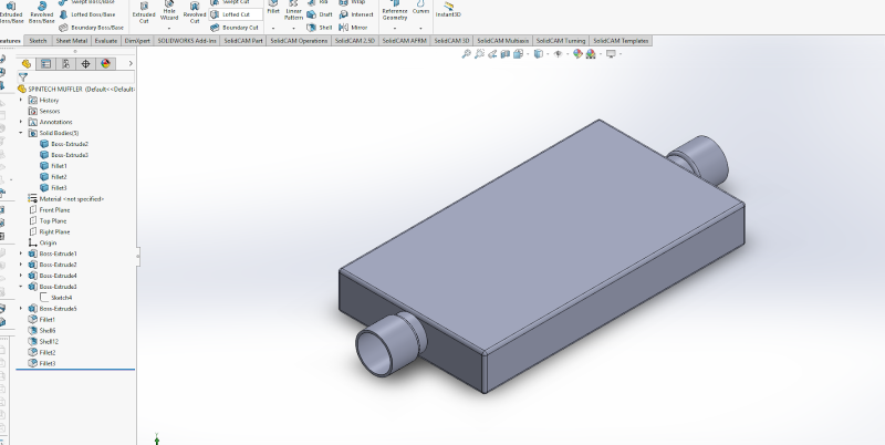 prototype of the muffler in SolidWorks