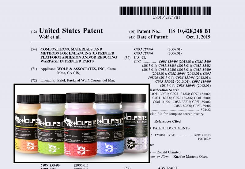 wolfbite patent for 3d printing adhesive