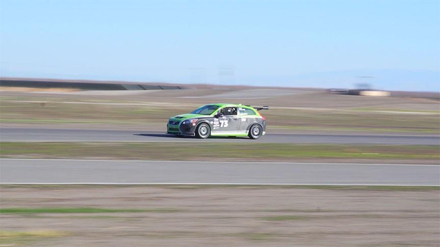 The VT Racing Volvo C30 speeding through a straightaway.