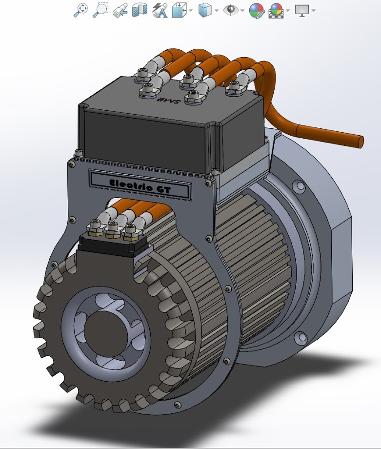 CAD 3D printing electric vehicle crate motor