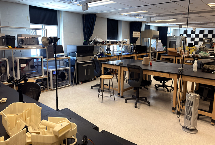 Professor Frey's classroom features a diverse mix of traditional and advanced tools and machines.