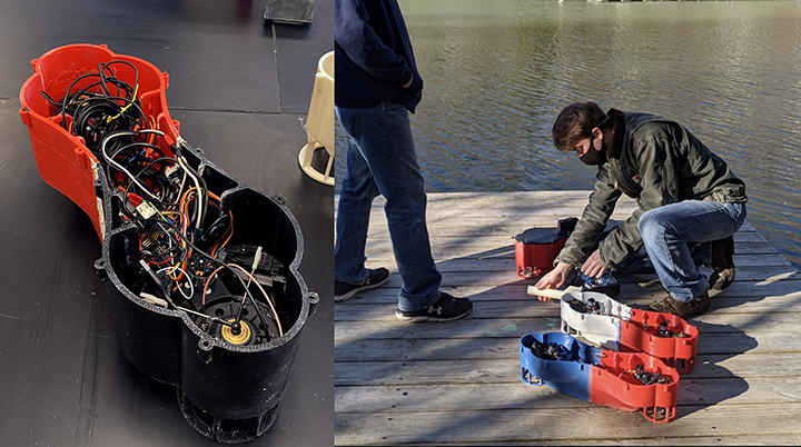 The Autonomous Swarm Robotic Boat platform was developed together with Mr. Frey and his students.
