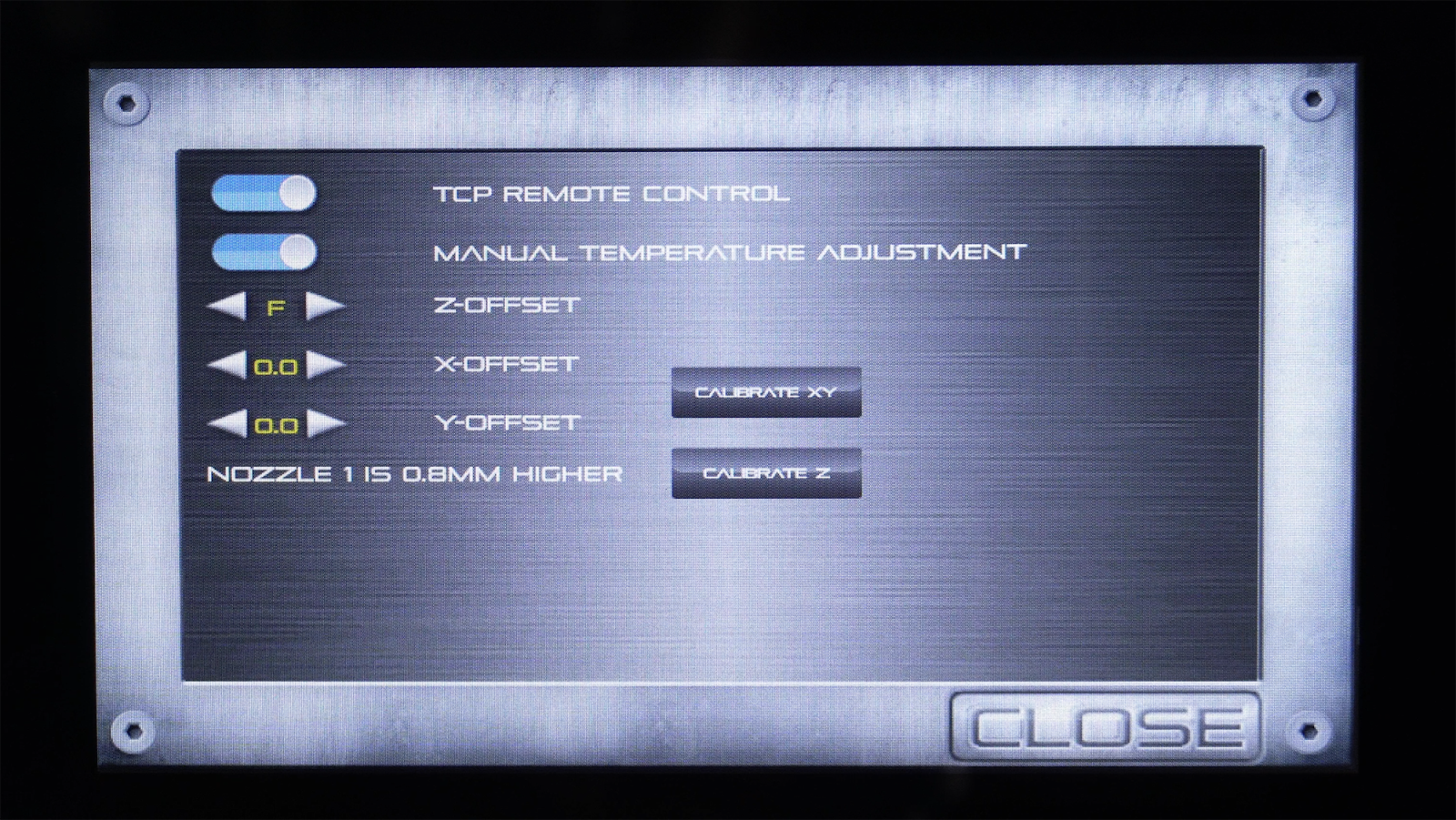 The new calibration menu showing the CALIBRATE Z option.