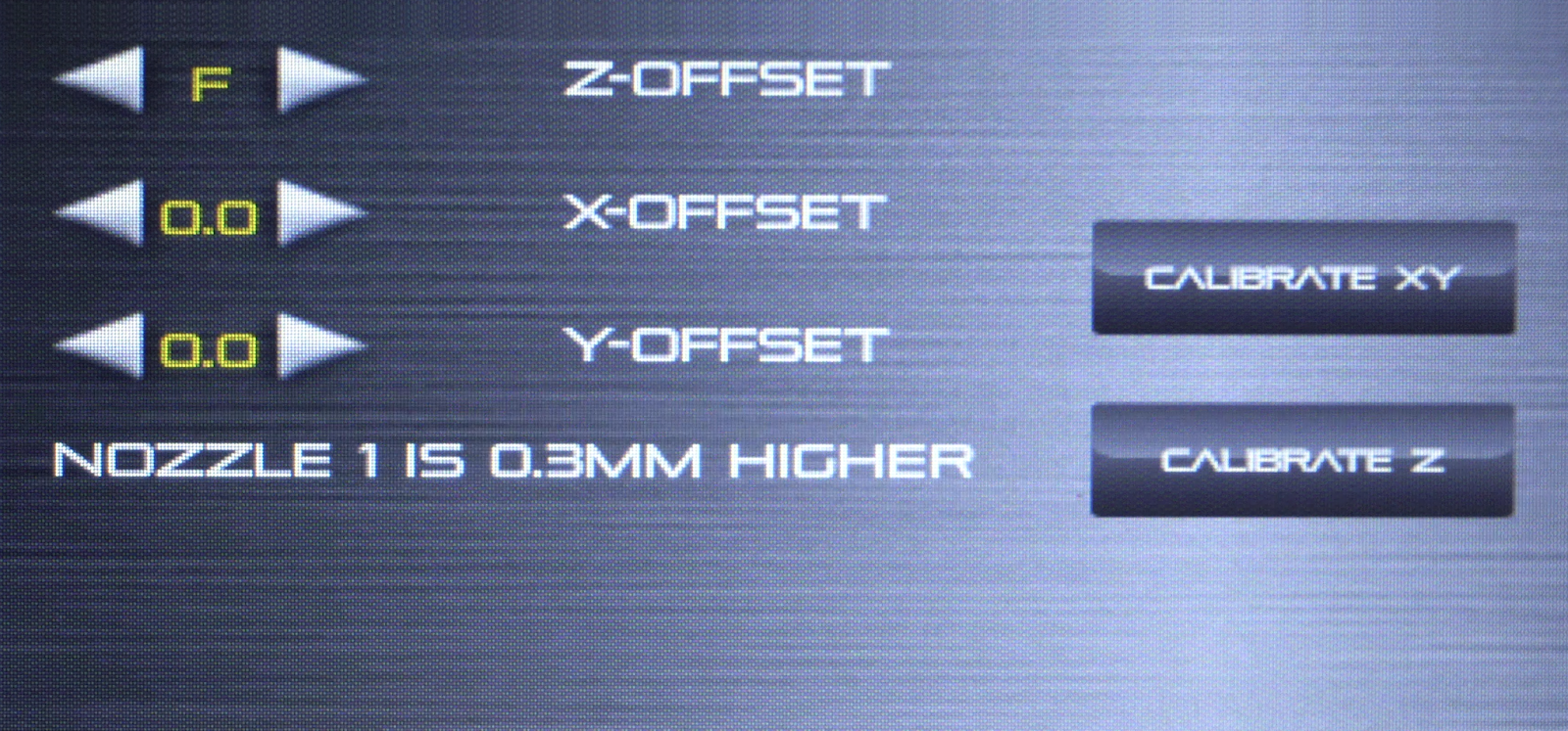 After running the calibration process, the screen will display the offset value between the two nozzles.