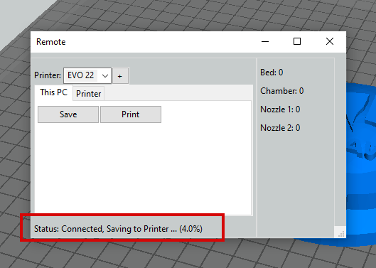 The file will transfer to the printer. The percentage uploaded will show in the status area at the bottom of the window.