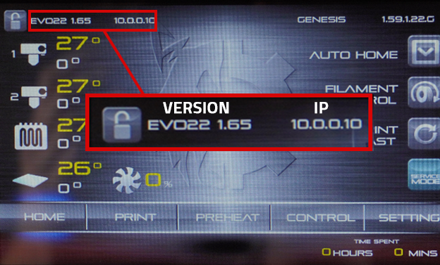 Here we see the EVO 22 is updated to version 1.65 of the touchscreen, and the IP address is 10.0.0.10.
