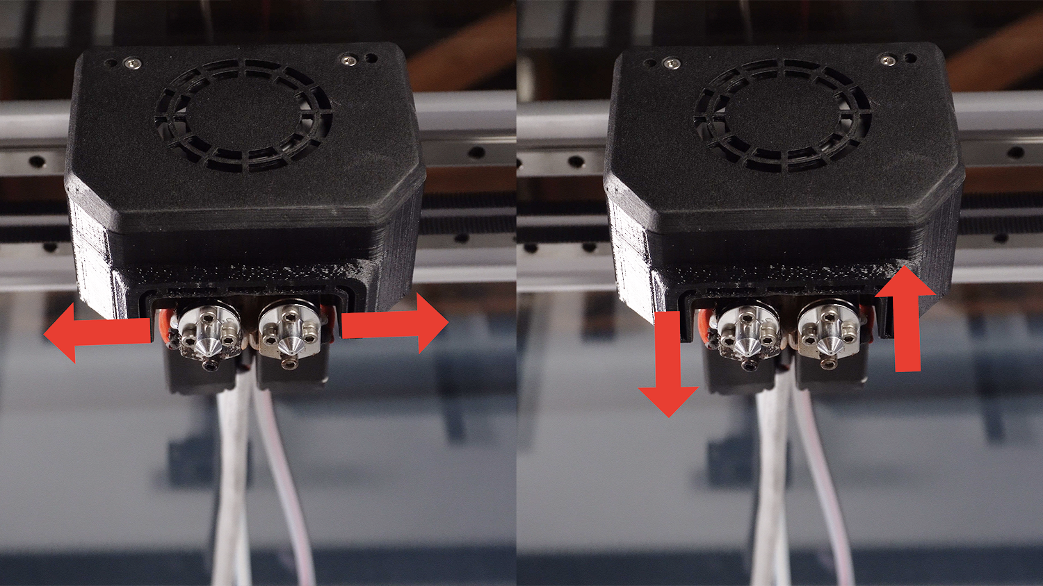 The nozzle offset (or the distance in the X and Y relative to each other) needs to be calibrated in order to achieve good quality dual prints.