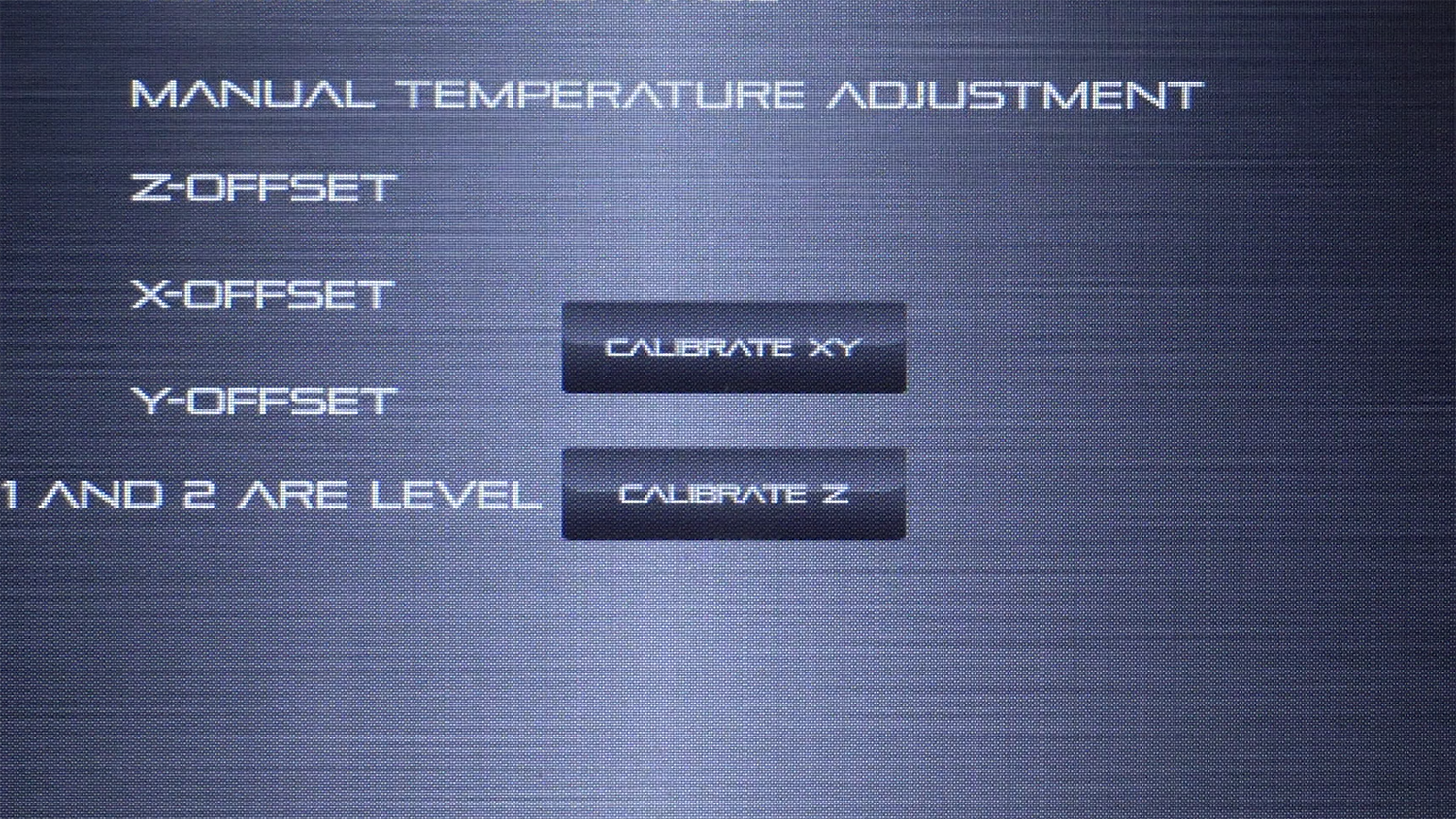 The CALIBRATE XY button can be found above the CALIBRATE Z button in the ADVANCED SETTINGS menu.